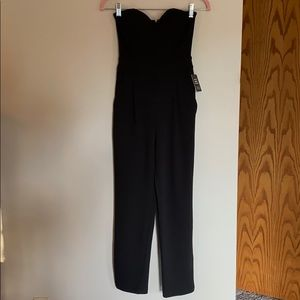 Express Black Strapless Sweetheart Neck Jumpsuit